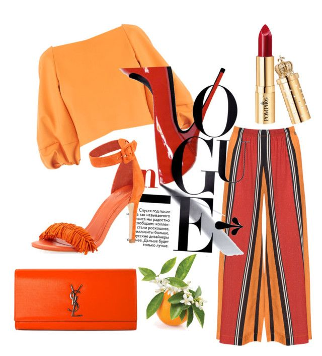 """""""Red,orange"""" by pusheencute on Polyvore featuring TIBI, Mat, Yves Saint Laurent and Joie"""