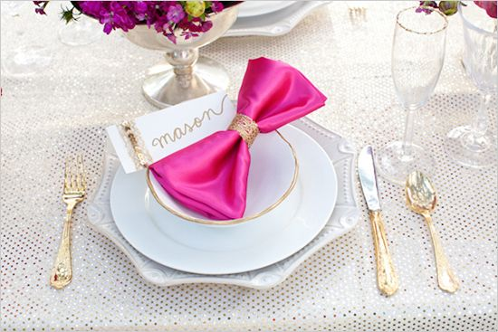 Vibrant Pink and Gold Wedding Ideas #wedding #hotpink #inspiration