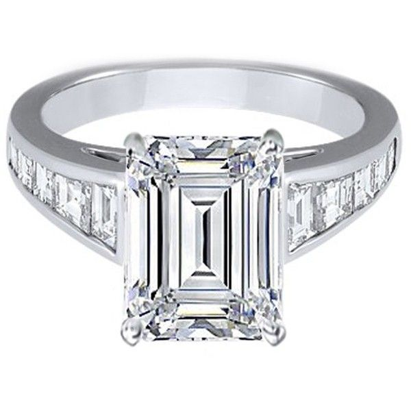 Engagement Ring - Large Emerald Cut Diamond Engagement Ring with Trapezoid Cut Diamonds in 14K White Gold - ES231EC ($3,880) found on Polyvore
