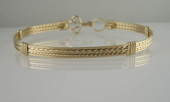 WSB-0073 Handmade 14k Gold Filled Wire Wrapped Bangle Bracelet
