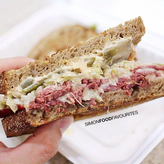 The Reuben: Wagyu corned beef, sauerkraut, Swiss cheese, Russian dressing on light rye ($14) @ Ruby and Rach Deli, David Jones Food Hall, Market St, CBD