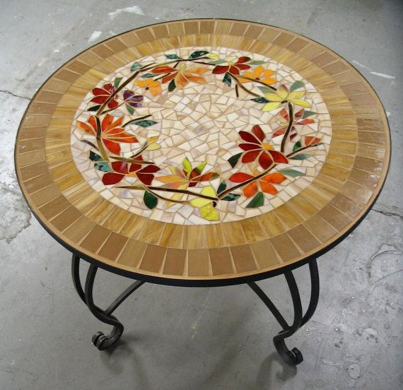 MOSAIC TABLE floral motif CUSTOM stained glass por ParadiseMosaics