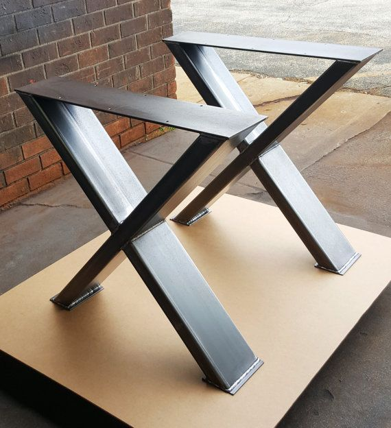 Sturdy Modern Dining Table X Legs Heavy Duty Metal by DVAMetal