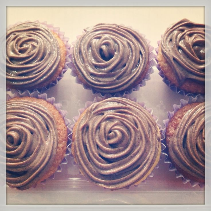 Vanilla cupcake with coffee frosting.
