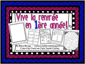 Vive la rentre! Here are 7 activities designed for the start of the year in a grade 1 EFI classroom. Included in this package: Mon premier jour dcole Students can either draw a portrait of themselves on the first day, or draw a memorable moment from their day.Name search Have students find the letters in their name and colour them in.
