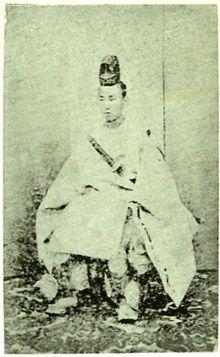 Japanese antique photograph. Sanjo Sanetomi (1837 - 1891). He was a Japanese court noble and was a politician. Edo era (Bakumatsu) / Meiji era.