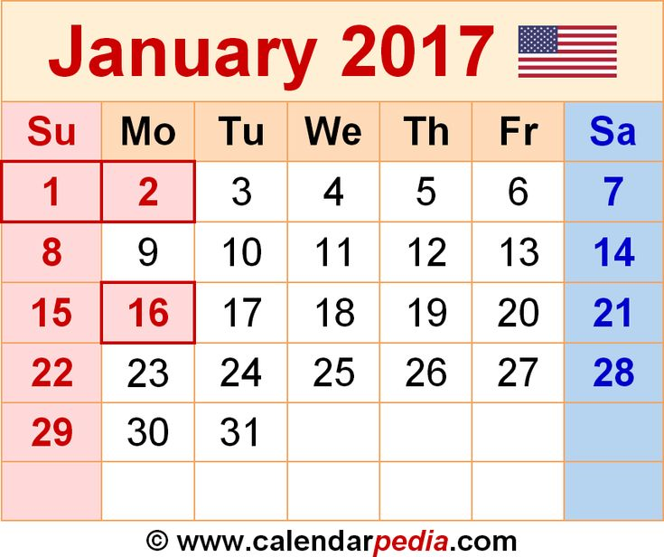 January 2017 calendar as a graphic/image file in PNG format