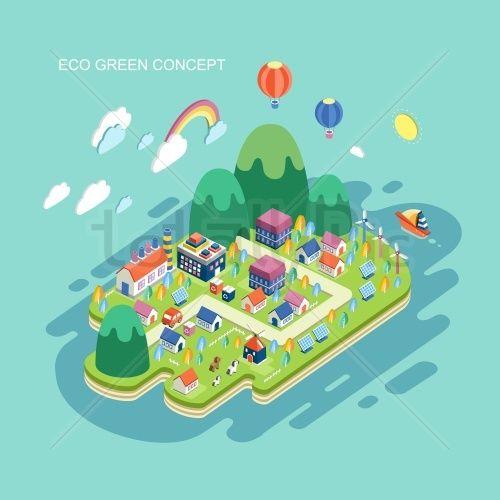 flat 3d isometric eco green concept illustration