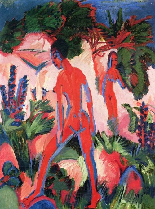 Red Nudes  1913-1925   Ernst Ludwig Kirchner  oil on canvas