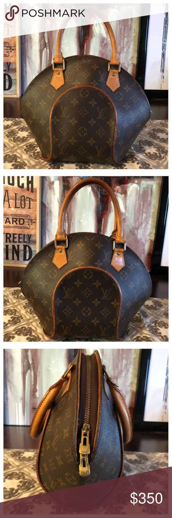 """AUTHENTIC LOUIS VUITTON ELIPSE 100% Authentic Louis Vuitton Elipse. Classy and super cute. Monogram canvas has no scratches or tears. Beautiful caramel patina on leather. Minor wear and patina on handles. Zipper works properly. Inside and pocket is in good condition. W7.8""""xH9.4""""xD2.7"""" No trades Louis Vuitton Bags Satchels"""