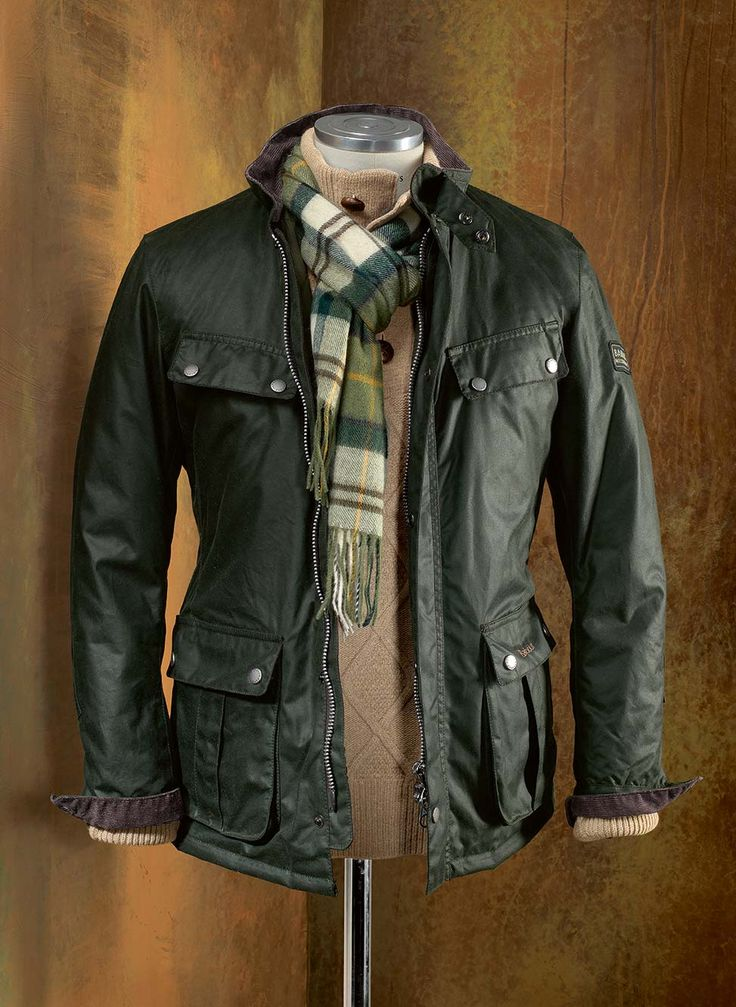 Barbour International Duke Jacket in Olive. I prefer this style to the belted motorcycle jackets, as it maintains the classic look, but in a more tailored profile.