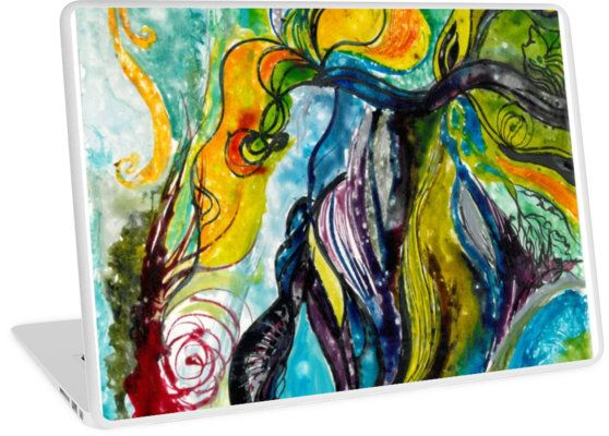 Sailing away from reality  Traditional acrylic painting on paperboard  Available for various PC and MacBooks  Laptop Skins surreal, colorful, sailing away, sailing, dreamy, kelpie, water, sea, blue, green, flourish, ornamental, swirl, abstract, nonfigurative, nonfig, flowers, leaves, spirals, spirals and swirls, underwater, seaweed, kelp, moss, swimming