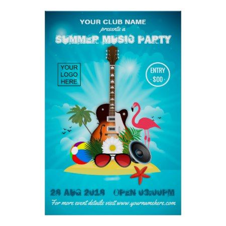 Club/Corporate Summer Party Invitation Advert Poster - tap, personalize, buy right now!