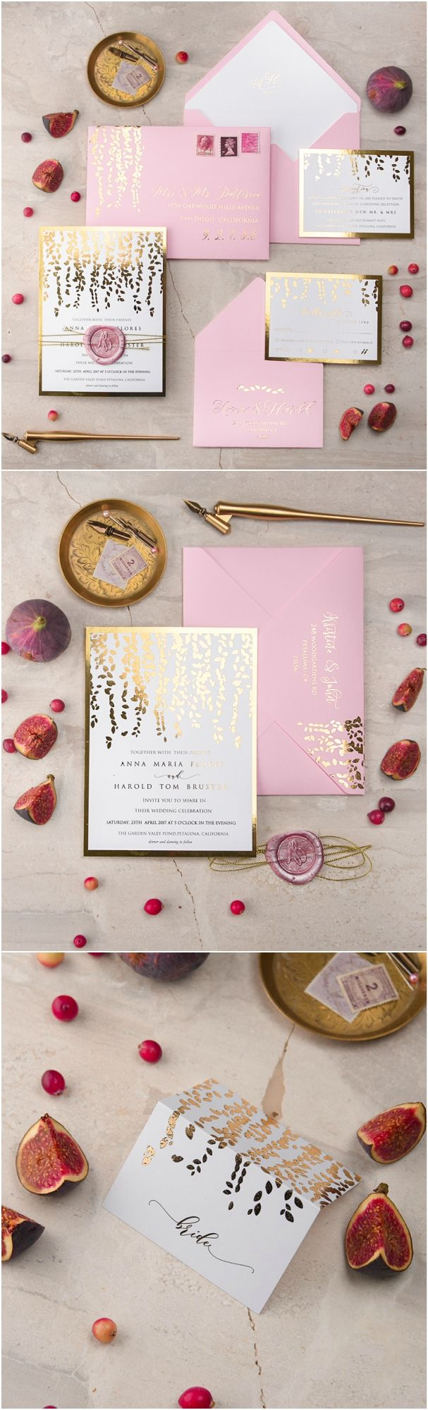 Pink & Gold Wedding Stationery - Gold Foiled, wax stamped elegant wedding invitation and place card #weddingideas #wedding #gold #pink #elegant #romantic