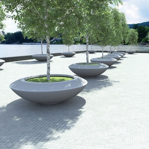 privacy container planting | Polymer concrete buzz planter | Pot Company | ESI External Works