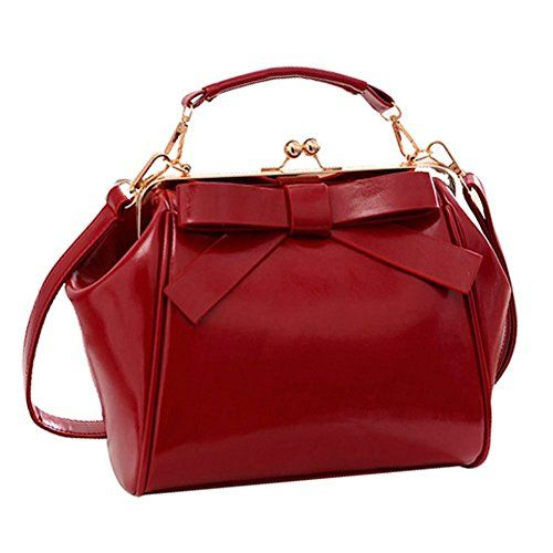 Coofit Frauen Leder Handtasche Umhängetasche Bowknot Bow Damenhandtaschen