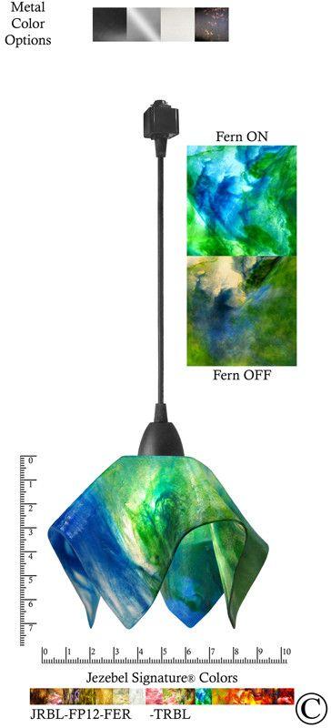 Jezebel Signature® Flame Track Lighting Pendant Small. Hardware: Black. Glass: Fern