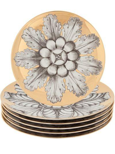 FORNASETTI 'Rosini' Set Of 6 Plates