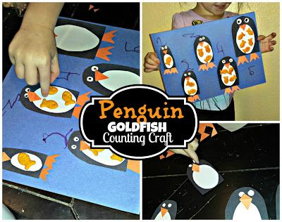 DIY: Penguin GoldFish Cracker Counting to 5 Activity and Craft for kids and preschoolers | http://www.sassydealz.com/2013/08/diy-penguin-goldfish-cracker-counting.html