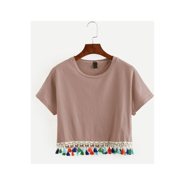 Pink Tassel Trimmed Crop T-shirt ($22) ❤ liked on Polyvore featuring tops, t-shirts, short sleeve tee, brown crop top, cropped tops, embellished crop top and crop tee