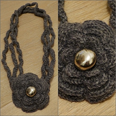Giuligiu necklace..crochet flower and vintage button!