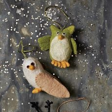 felt owl ornaments $6... not surprising that i like the green one =)