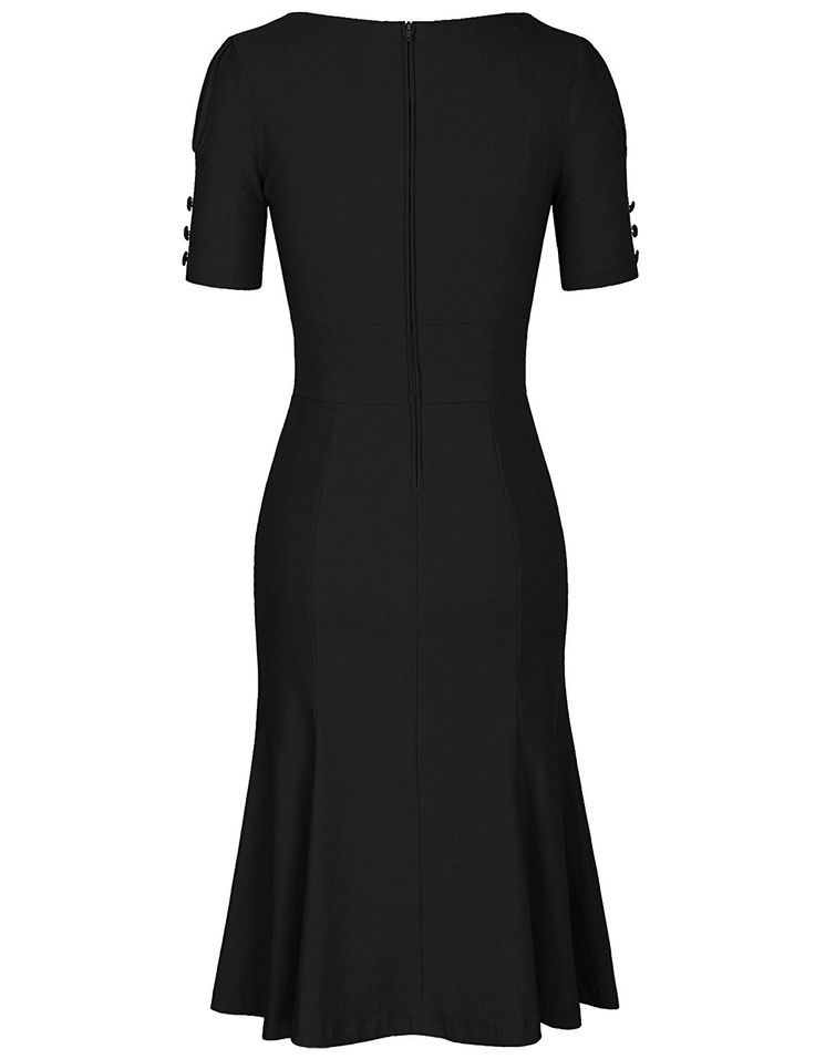 JUESE Women's 50s 60s Formal or Casual Party Pencil Dress (S, Black)