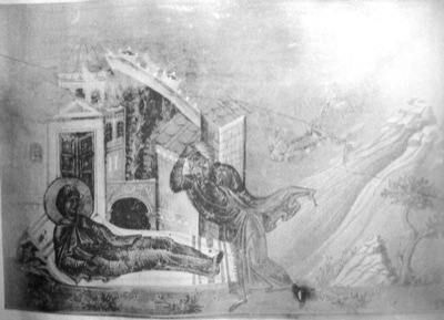 Saint Euphrosyne, who was dying, makes herself known to her father.