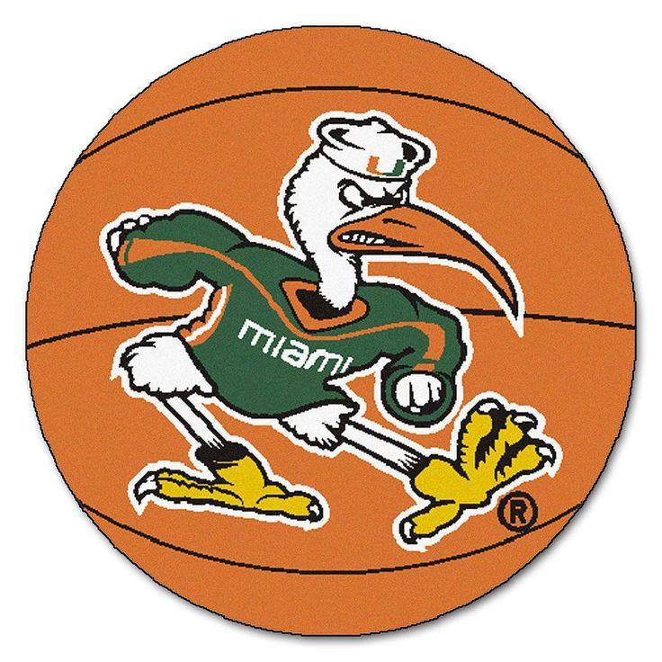 "Miami Hurricanes Ncaa ""basketball"" Round Floor Mat (29"") Sebastian The Ibis"