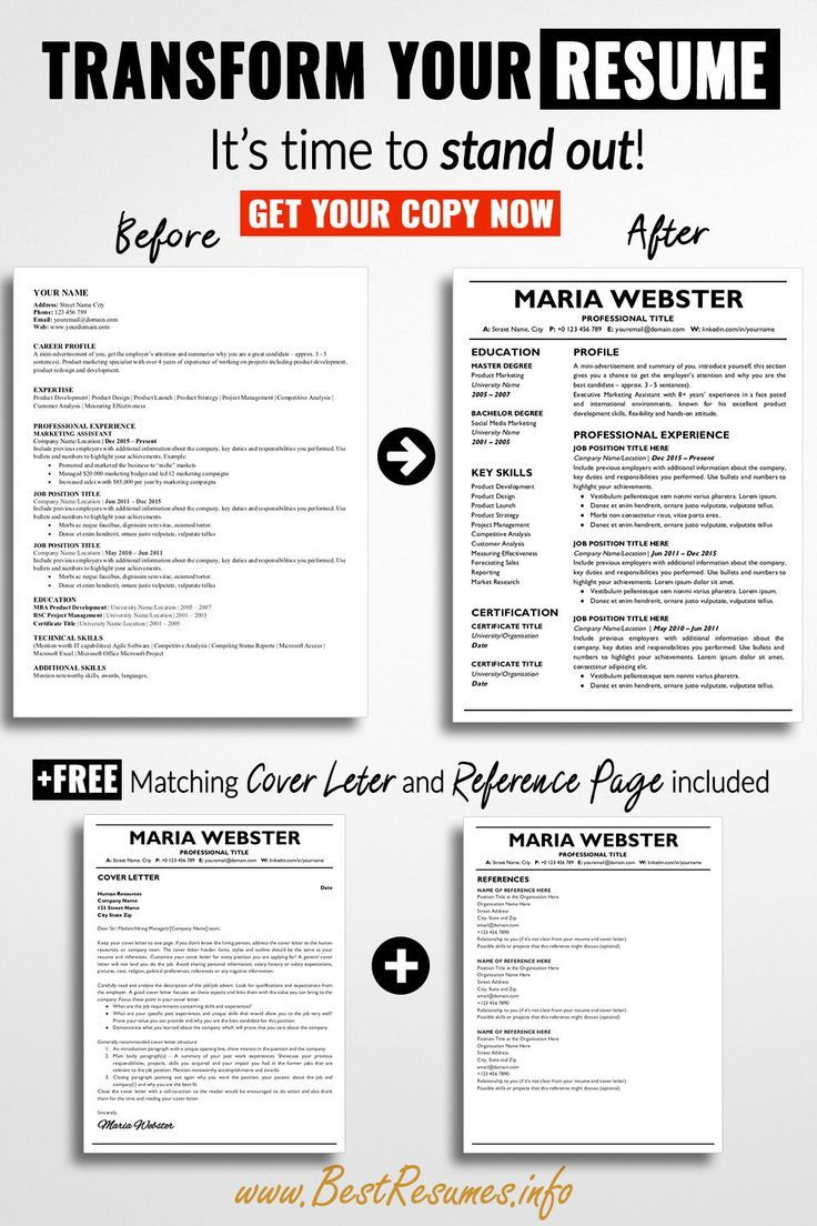 Professional resume template maria webster bestresumes