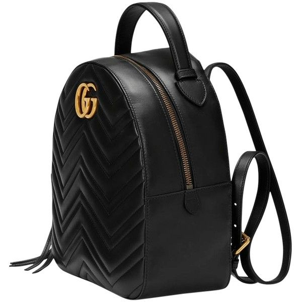 Gucci Black Gg Marmont Quilted Leather Backpack (€1.490) ❤ liked on Polyvore featuring bags, backpacks, backpack, rucksack bags, quilted leather bag, quilted leather backpack, day pack backpack and daypack bag