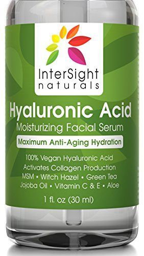 Hyaluronic Acid Serum for Face by InterSight  with Vitamin C  E MSM Green Tea Jojoba Oil Aloe  100 Pure  Best Organic  Vegan Anti Aging Moisturizer Liquid  1000x Hydration  1 oz * Check out this great product.
