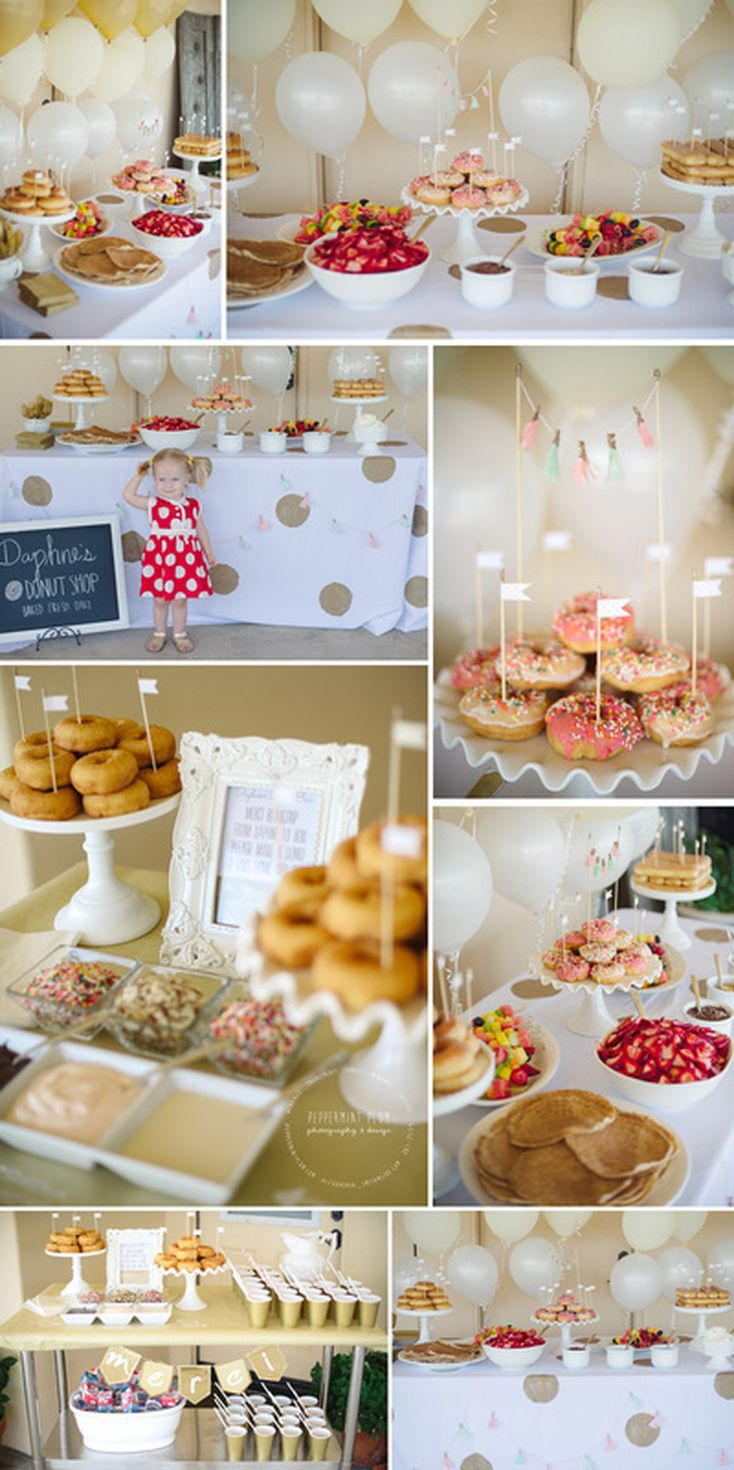 Donut Breakfast Party! Deco your own donut. Build your own pancake. Super cute for a bridal shower!