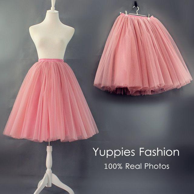 Yuppies Moda 7 Camadas Tutu Saias Das Mulheres Saia Midi Saia de Tule Qualidade da American Apparel 2016 Outono faldas saia jupe