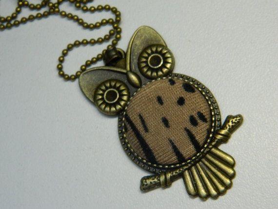Brown Fabric Button Owl Pendant Vintage necklace by LittleRubyAtom