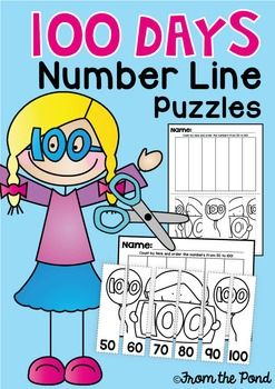 100 Days of School Number Line Puzzle Worksheets FREE
