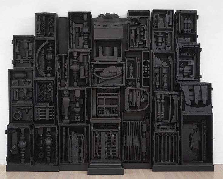 Louise Nevelson, untitled, 1964, wood and black paint, assemblage.