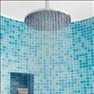 Turkos glasmosaik i duschen, 2000 kr/kvm, Bizazza/Kakeldax, duschblandare ca 10000 kr, Badrumssp...