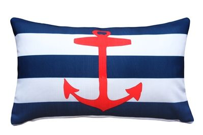 Red Anchor Nautical Throw Pillow 12X20 #inlovewithstyle #stripes #InteriorDesign #PillowDecorCom
