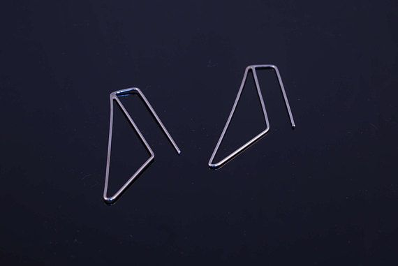 Minimal triangle earrings minimalist long earrings dangling