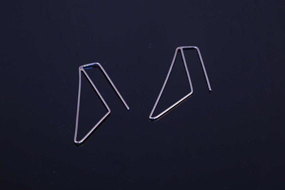 Minimal triangle earrings minimalist long earrings dangling