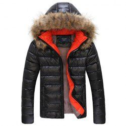 $30.67 Casual Style Hooded Faux Fur Stitching Solid Color Long Sleeves PU Leather Coat For Men