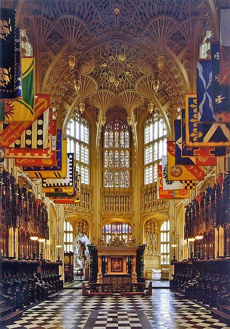 The ultimate English architectural glory - Henry VII's Lady Chapel of Westminster Abbey- the flags are those of the present day Knights Grand Cross of the Most ...