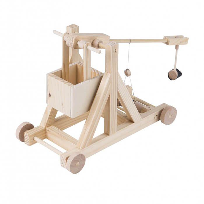 Mechanisch houten bouwset trebuchet