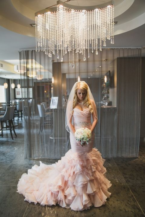 Glam Reception Grand Entrance | Janine Deanna Photography | Glamorous Pink and Gray Mountain Wedding with a Blush Wedding Dress