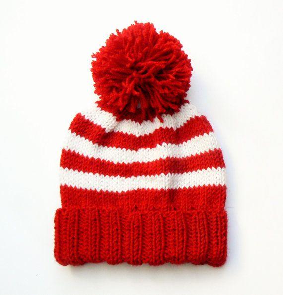 Knit Hat Kids Winter Hat Knit Beanie Hat Pom Pom Hat by 2mice