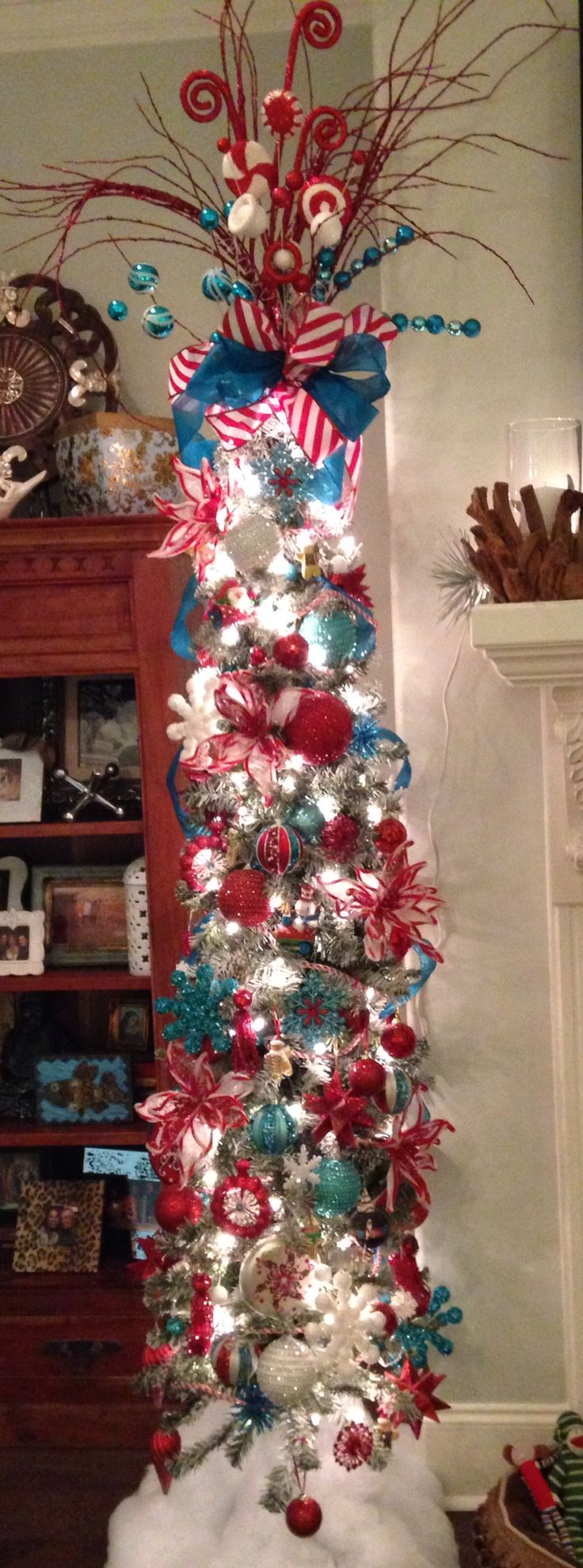 Turquoise & Red Pencil Christmas Tree