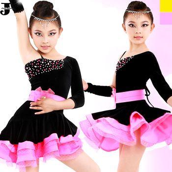 US $44.60 / piece Latin Dance Dress Children Rose/Yellow Kids Latin Competition Dress Girls Dance Costumes For Cha Cha/Rumba/Samba/Ballet