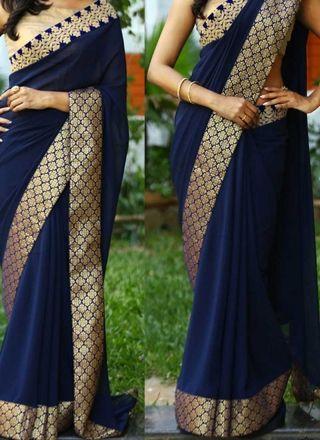 Navy Blue Embroidery Work Georgette Designer Party Wear Sarees http://www.angelnx.com/Sarees/Designer-Sarees