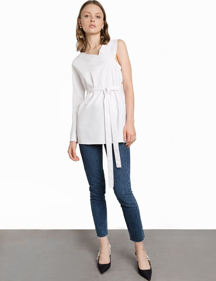 Side Button Belted White Asymmetric Top